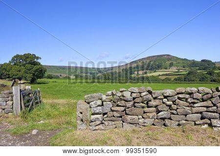 Dry Stone Wall In Moorland Countryside