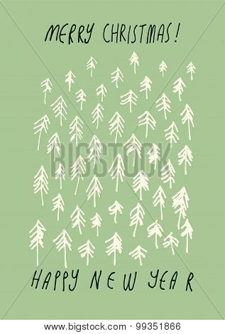 Merry Christmas and Happy New Year! Hand drawn doodle Christmas greeting card design. Vector illustr
