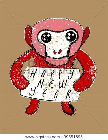 Happy New Year! Typographic Christmas greeting card design with monkey. Grunge vector illustration.
