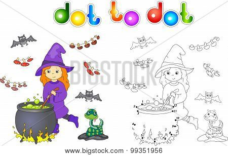 Pretty Friendly Witch Brews A Potion. Magic Potion Boils In A Cauldron. Connect Dots And Get Image.