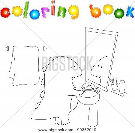 Crummy Bellied Dragon Is Washing His Hands. Coloring Book About Healthy Lifestyle For Children