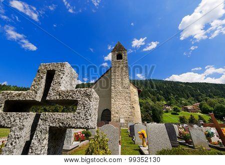 San Vigilio Church With Cemetery - Pinzolo Italy