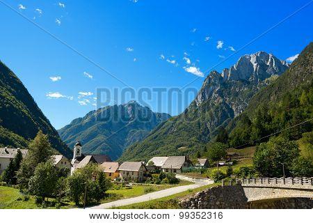 Small Village And Julian Alps - Slovenia