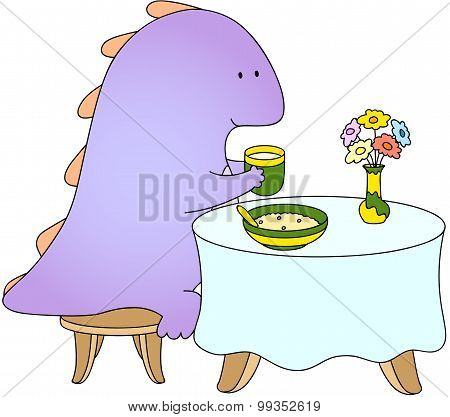 Crummy Bellied Dragon Eats His Breakfast: Porridge And Juice