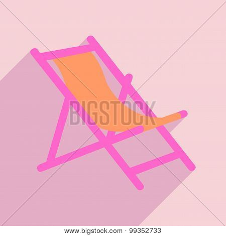 Flat with shadow icon and mobile application deck chair
