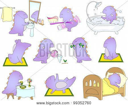 Crummy Bellied Dragon Is Sleeping, Doing Exercises, Washing His Hands, Taking Bath, Eats His Breakfa