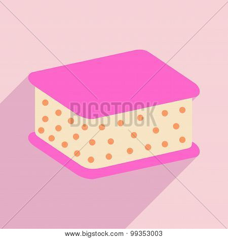 Flat with shadow icon and mobile application ice cream sundae