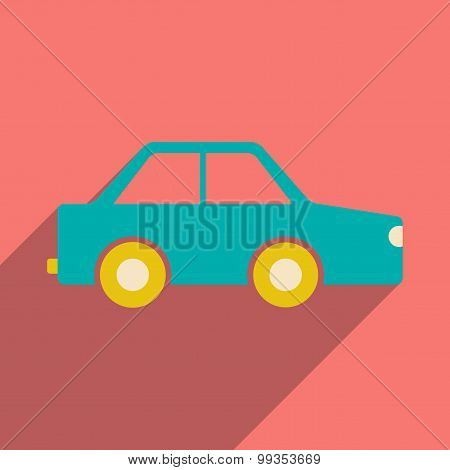 Flat with shadow icon and mobile application toy car