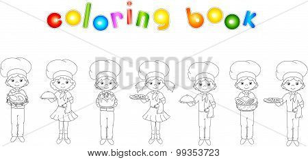 Set Of Cartoon Waiter, Cook And Chef. Coloring Book For Kids