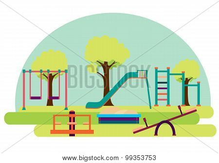 Playground. Slide and swing on a background of green trees. Vector illustration