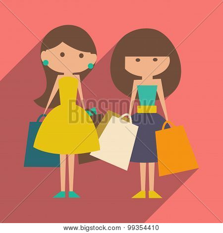 Flat with shadow icon and mobile application shopping