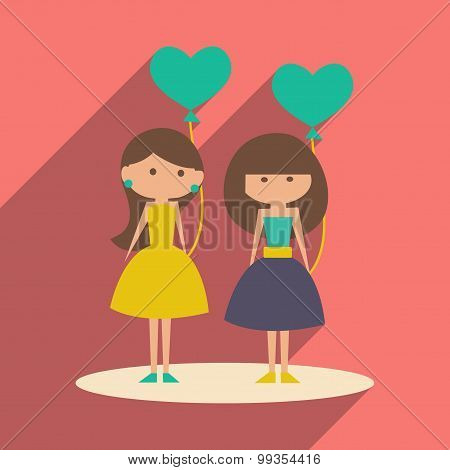 Flat with shadow icon and mobile application girl balloons