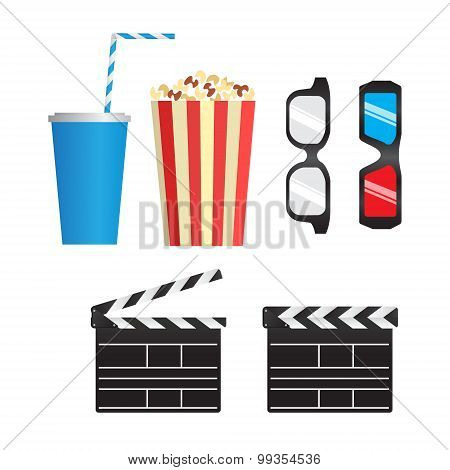 Set Of Color Movie Objects