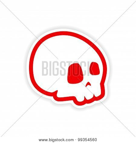 icon sticker realistic design on paper skull