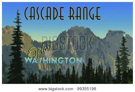 Vintage treatment of a touristic poster for Washington's Cascade Range