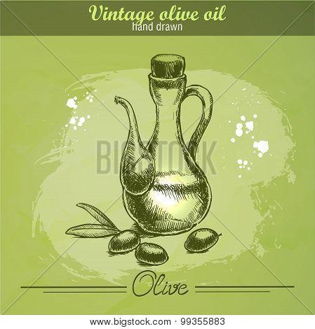 Vintage olive oil bottle with olive branch