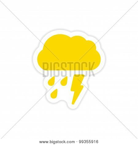 icon sticker realistic design on paper rain cloud lightning