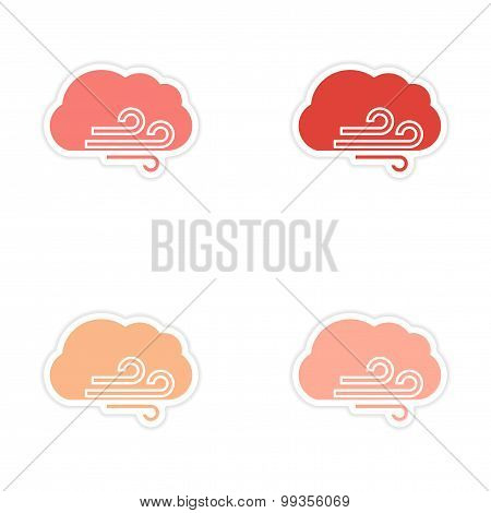 Set of 4 sticker design on paper cloud wind