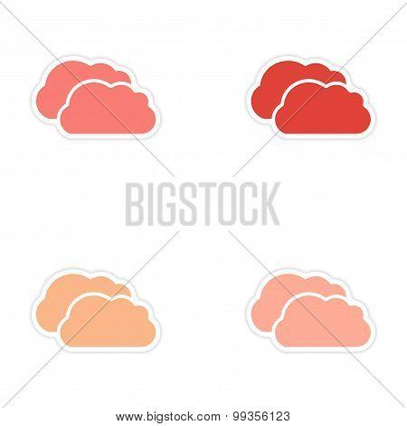 Set of 4 sticker design on paper clouds