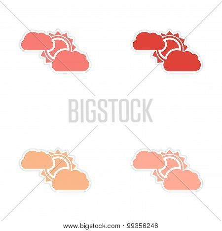 Set of 4 sticker design on paper sun cloud