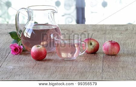 Still-life With Apple Compote And Fresh Apples And A Rose