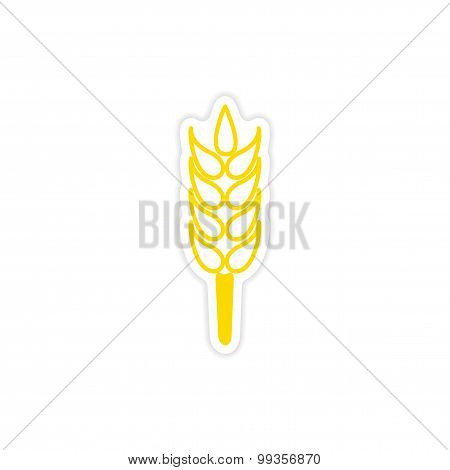 icon sticker realistic design on paper wheat