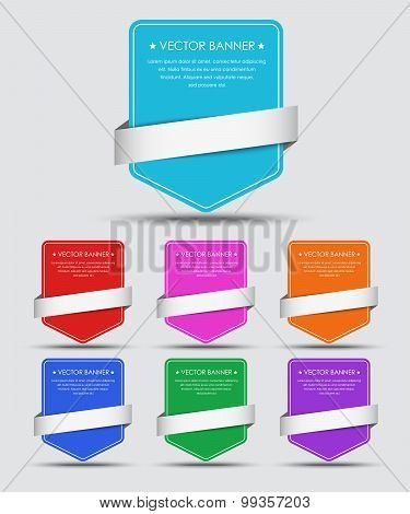 Set Of Colorful Banners With Ribbon