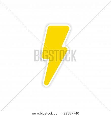 icon sticker realistic design on paper lightning bolt icon