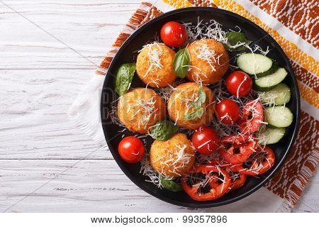 Italian Arancini Rice Balls With Cheese. Horizontal Top View