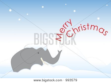Mr Elephant In The Christmas Snow