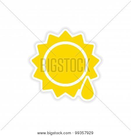 icon sticker realistic design on paper sun drop