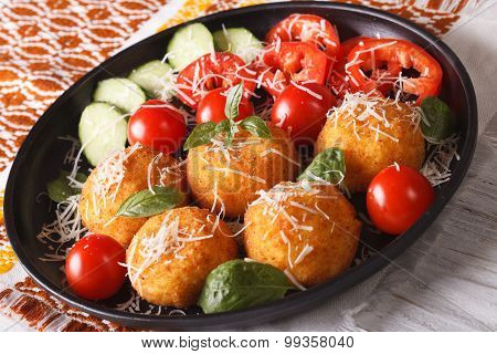Arancini Rice Balls With Parmesan And Fresh Vegetables. Horizontal