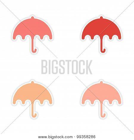 assembly realistic sticker design on paper umbrella