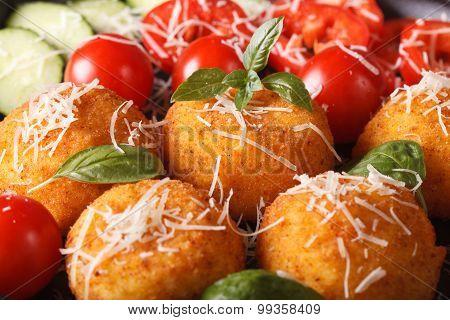 Ried Arancini Rice Balls With Vegetables Macro. Horizontal