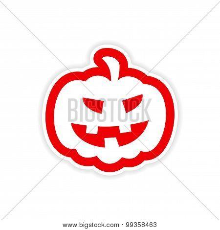 icon sticker realistic design on paper pumpkin