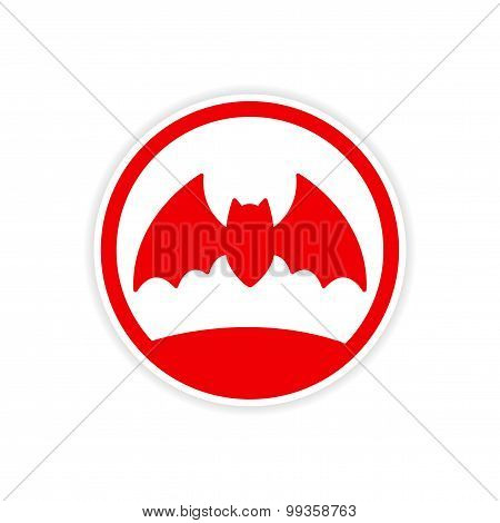 icon sticker realistic design on paper bat