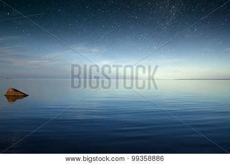 Starry Sky Over The Sea. Nature Europe.