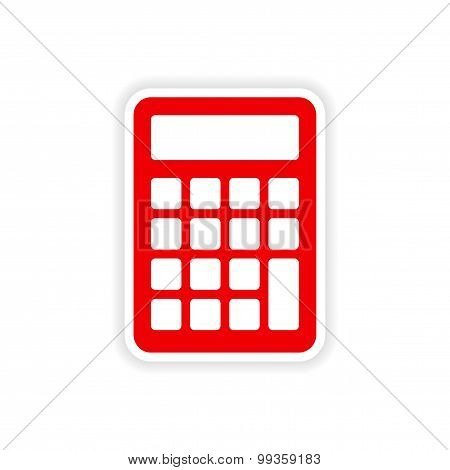 icon sticker realistic design on paper calculator