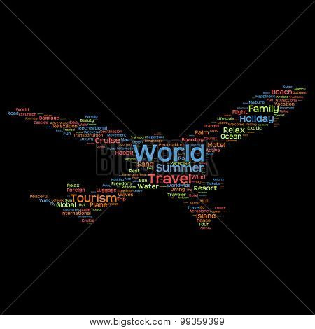 Concept or conceptual abstract travel or tourism word cloud or wordcloud as plane silhouette isolated on black background