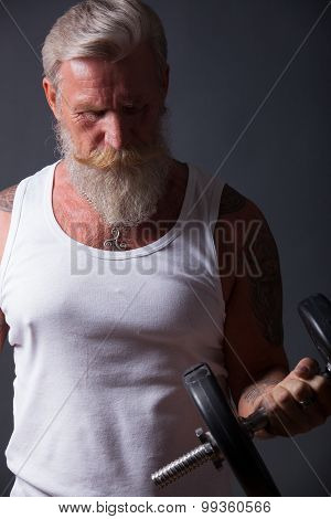 Beard Man With Dumbbell