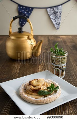 Apple Cake With Mint With Tea