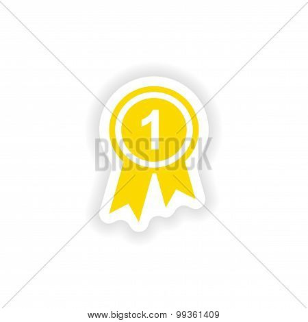 icon sticker realistic design on paper medal