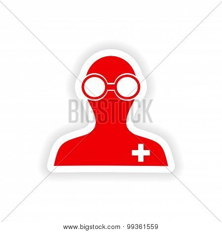 icon sticker realistic design on paper lab worker