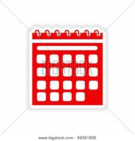 icon sticker realistic design on paper calendar