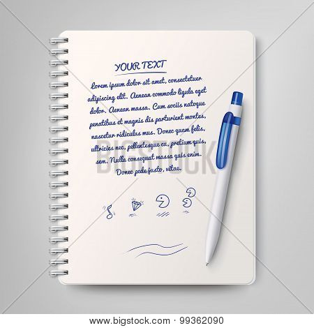 Spiral Notebook And White Ballpoint Pen. Vector Illustration
