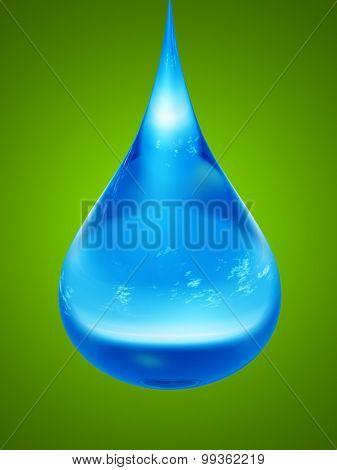 Concept or conceptual clean cold blue rain water liquid drop falling, green gradient  background