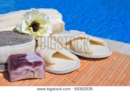 Natural Bath Sponges, Bath Slippers, Handmade Soap And Flower