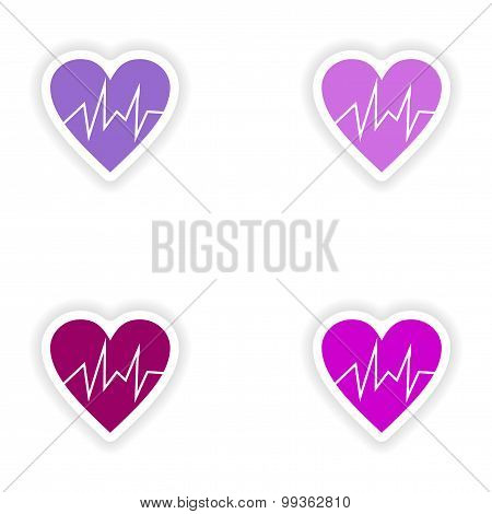 assembly realistic sticker design on paper logo cardiology
