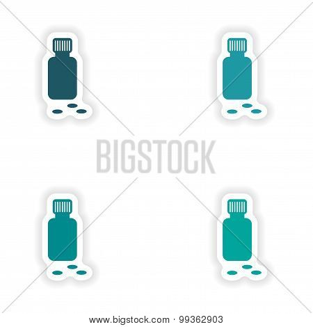 assembly realistic sticker design on paper bottle of pills