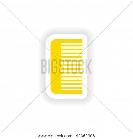 icon sticker realistic design on paper comb